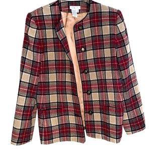 Talbots brown and red plaid women's blazer 8